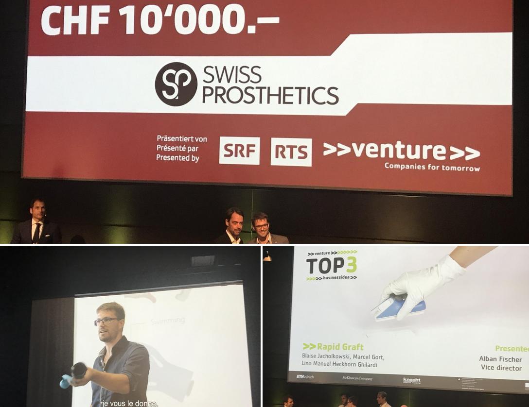 Publikumspreis für SwissProsthetics, 3. Platz für RapidGraft
