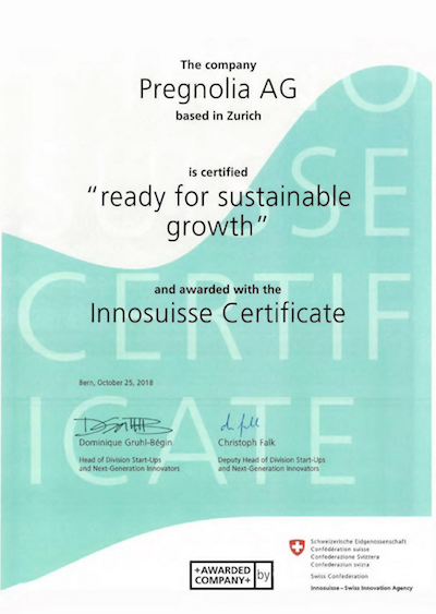 Innosuisse-Zertifikat für Pregnolia